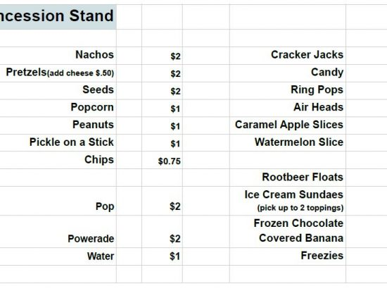 Delano Concession Stand Menu